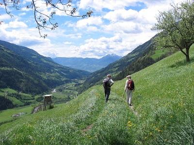"""Excursionismo en el camino """"Meraner Höhenweg"""" al sur del Tirol, abajo se tiene una vista del Valle Passeier."""
